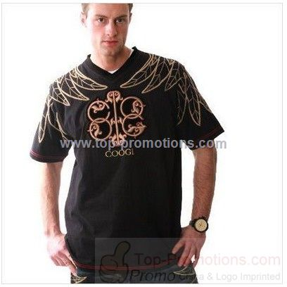 Coogi Men Flight V Neck Black T Shirts