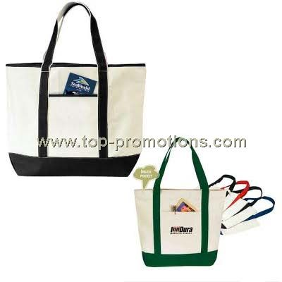 Zippered canvas tote bag with inside pocket