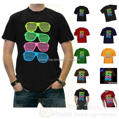 80 is s Style Sunglasses Black Light Responsive T-Shi