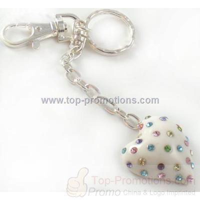 Sparkling Multicolor Crystal White Heart Key Chain
