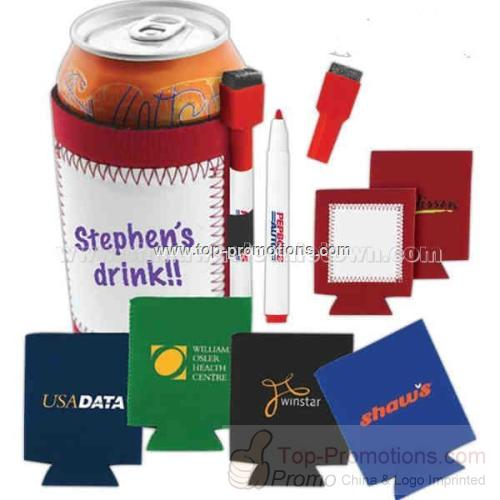 Neoprene can cooler with white board sewn in
