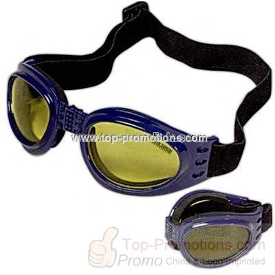 Foldable frame goggles with adjustable head strap
