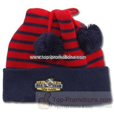 Football Pom Hat and Mitten Set cap