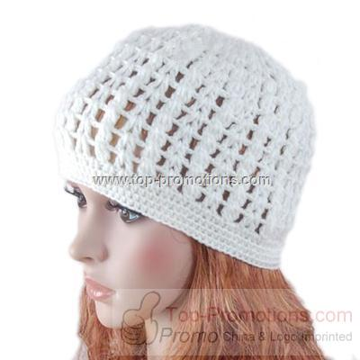 Versicolor Hat Hand knit Crochet Beanie Flower