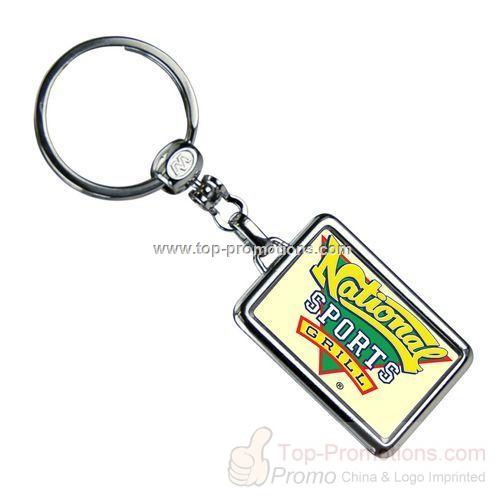 Rectangle Die Cast Metal Domed Key Tag