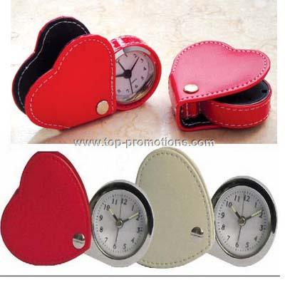 Heart Shaped Leather Travel Alarm Clock