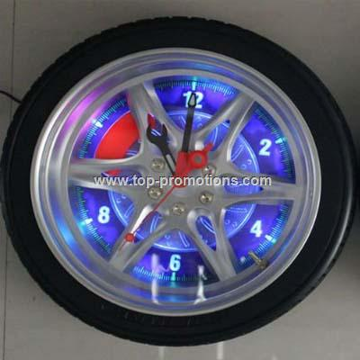 Motorcycle Tyre Wall Clock with LED Light