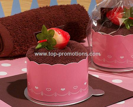 Sweet Treats Chocolate Cupcake Towel in Pink Scall