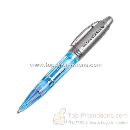 Blue light up pen with silver cap