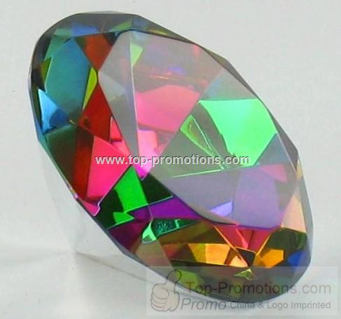 Rainbow Color Diamond Shaped Stone Paper Weight