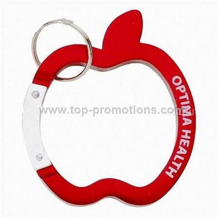 Apple Carabiner Keychain with Split Ring Attachmen