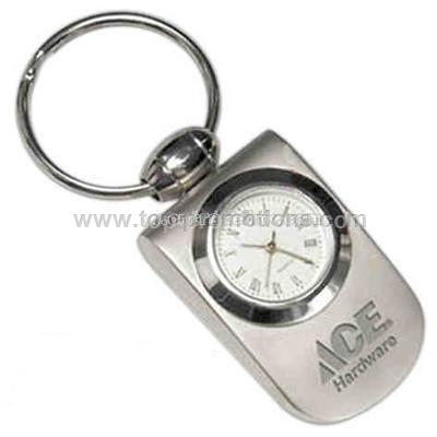 Polished bezel analog clock keychain in matte silv