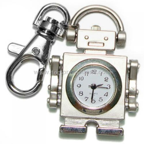 Silver Robot pocket watch keyring keychain clock