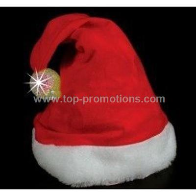 Flashing Red & Green Sparkle Ball Santa Hats