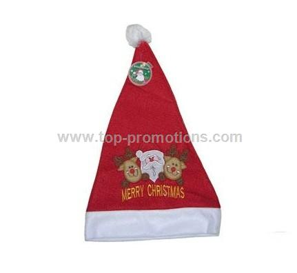 Embroidered Santa Hat with Lights - Adult Size