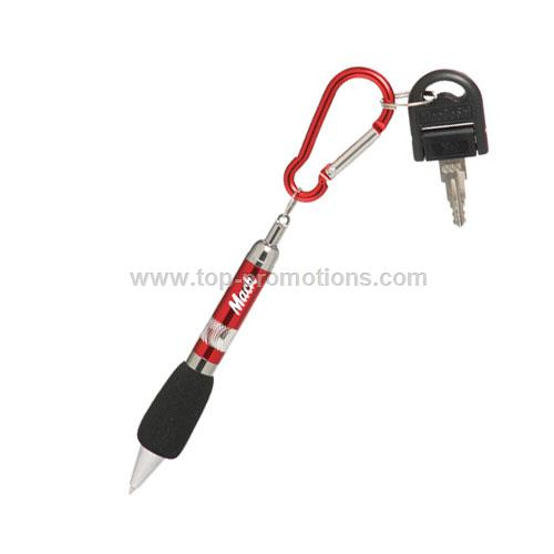 Mini Ball Pen with Key pull ring and Metal Carabin