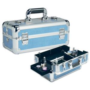 Baby Blue Snakeskin Train Case