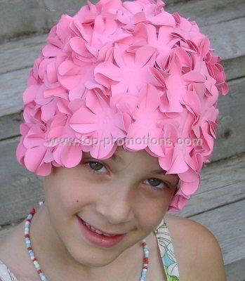 Flower swimming cap