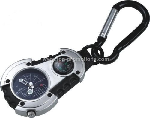 Carabiner watch with compass
