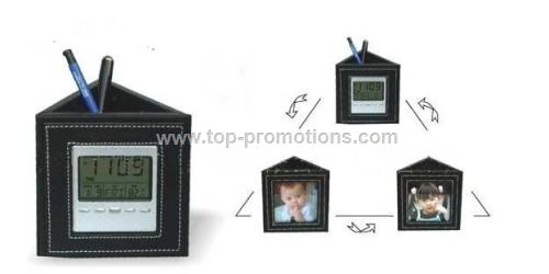 Pen Holder w Photo Frame&clock