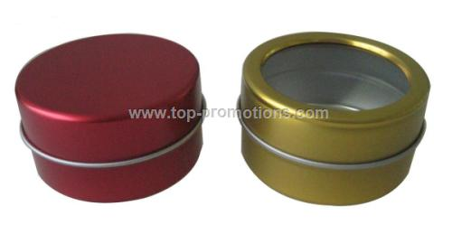 Small Round Tin Box with or without Clear Window