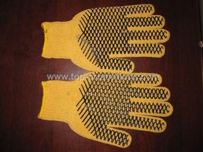 PVC palm dotted knit gloves