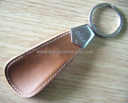 Leather shoehorn keychain
