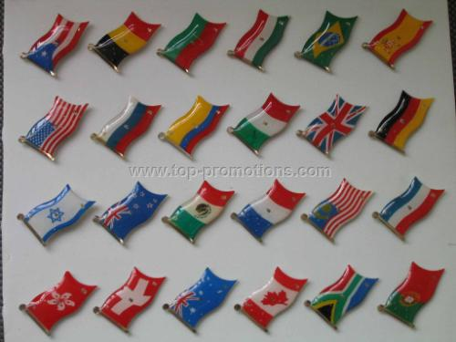 Flag flashing pin with various kinds of world nati
