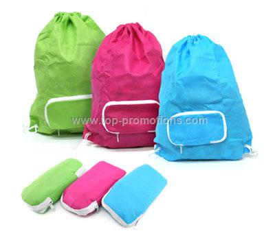Foldable Drawstring Bag with Zip