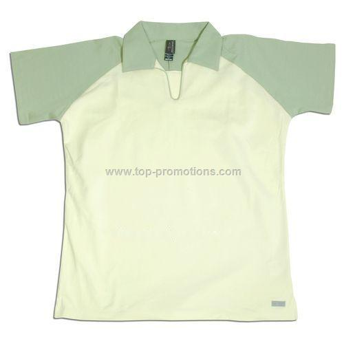 Ladies two-tone stretch shirt with raglan sleeves