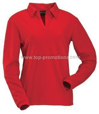 Quick Dry Mesh Ladies Long Sleeve Polo Shirt
