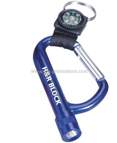 Led Carabiner with Compass
