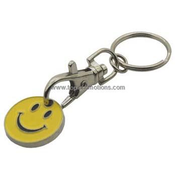 Smiley Face Trolley Coin Key Ring