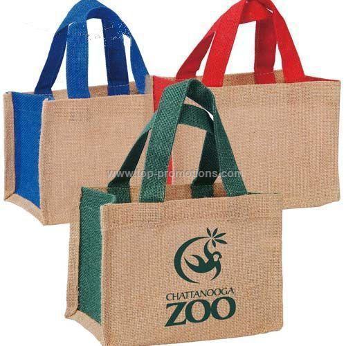 Small Two Tone Jute Tote Bag