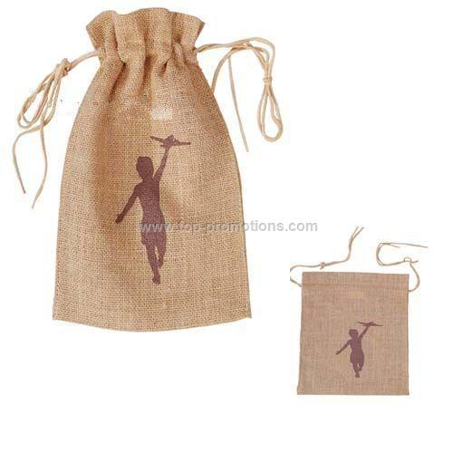 Small Drawstring Jute Tote