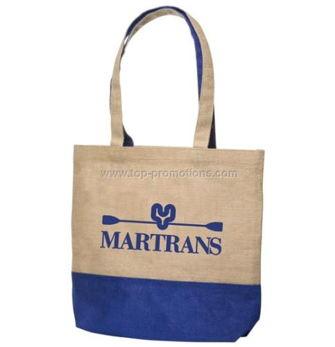Blue and Natural Jute Tote Bags