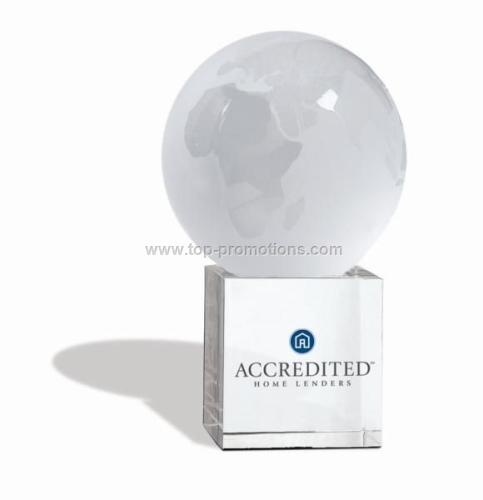 Etched Glass World Globe