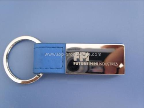 Rectangular Leather Metal keychain