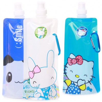Vapur 16 Ounce Flexible Collapsible Water Bottle with Cartoon images