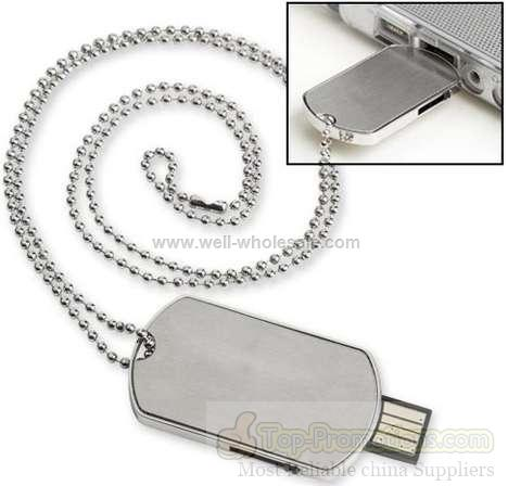 Army dog tag shape stainless stell usb flash drive