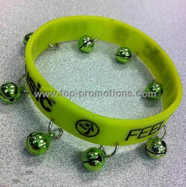Silicone Wristbands with Small Bell Charms