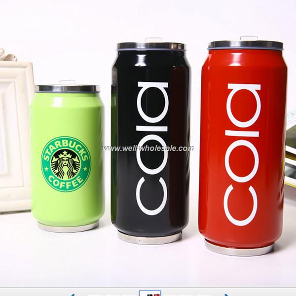 Wholesale creative cans stainless steel vacuum keep-warm glass coke bottle
