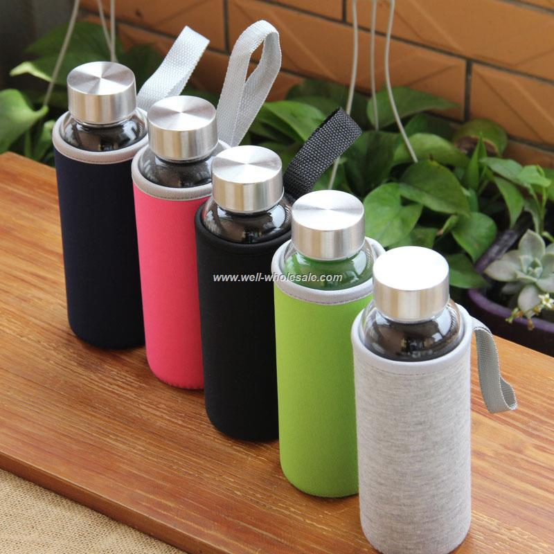 portable glass water bottle with sleeve 280ml 360ml 550ml
