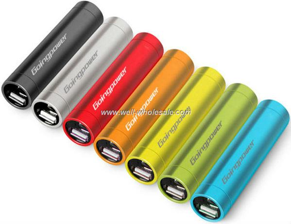 Mobile phone emergency charger, metal tube mobile power bank, mobile power portable charger 2600mAh