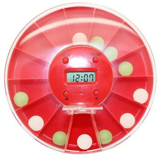 Promotional 14 Compartments Pill Box With LCD Alarm