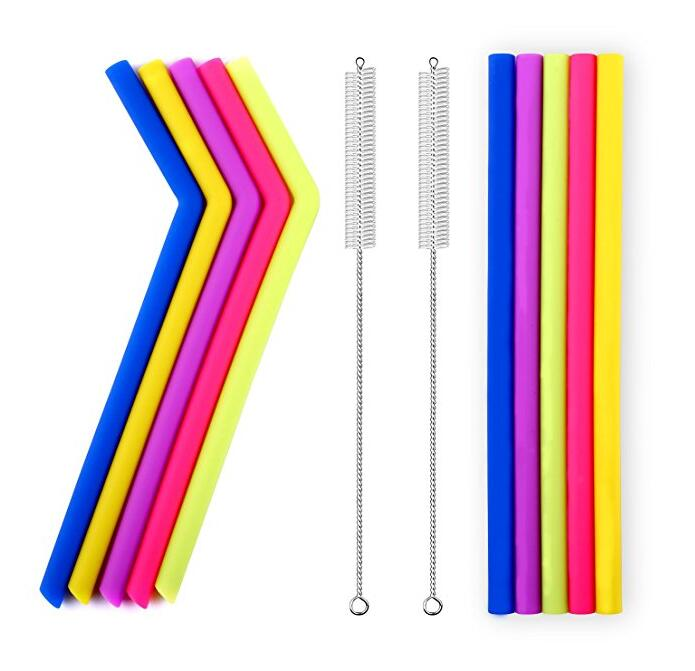 Wholesales food grade silicone straws with brushes sets