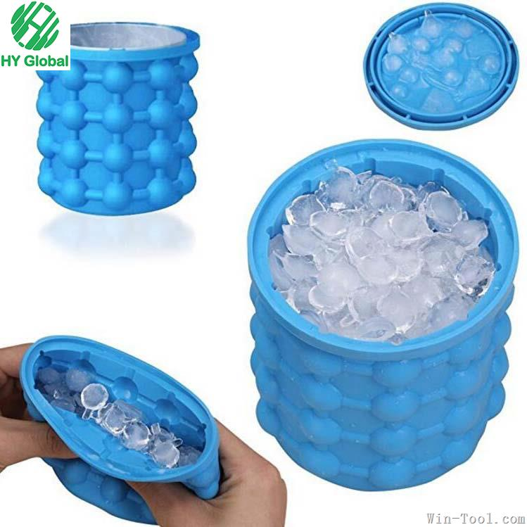 New Product Silicone ice bucket,Ice cube maker Genie,Silicone Space Saving Ice Cube Maker-Ice Bucket with Lid-Kitchen Tools
