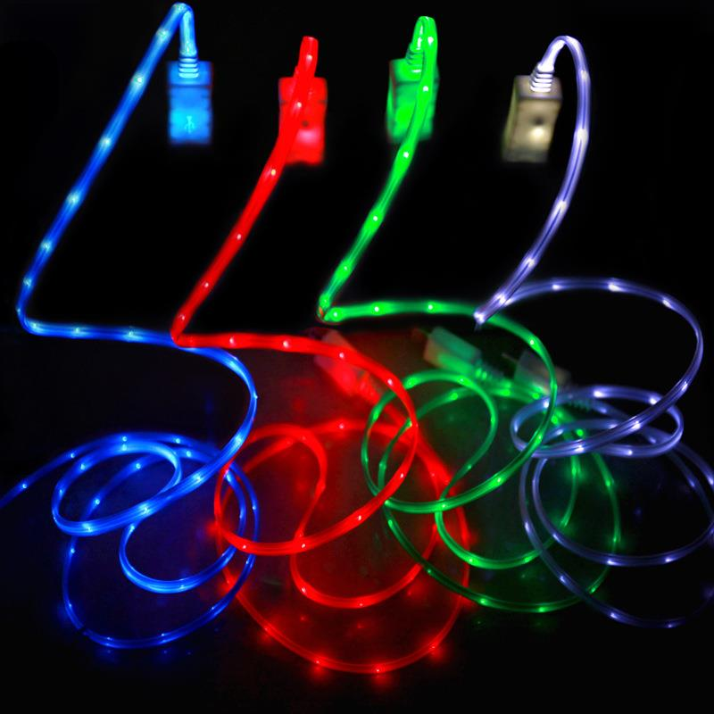 2018 Wire LED USB Cable Colorful 3ft/ 1m LED Light 2A Micro USB data Cable for Android for iphone