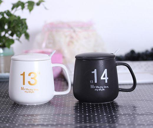 customize 12 Ounce creative printed ceramic cup with Spoon and Lid,coffee mug,Ceramic cup