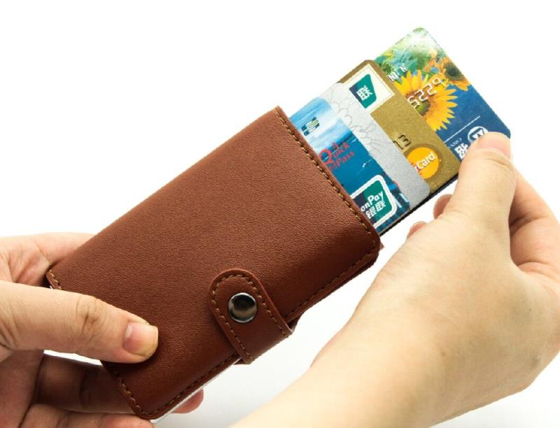 Aluminum Slim leather WITH meta Credit id Card Holder